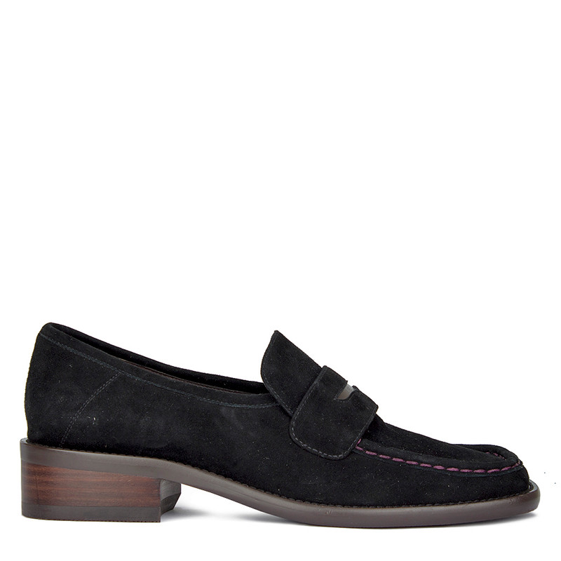Women's Classic Black Suede Loafers GR 5232010 BLS