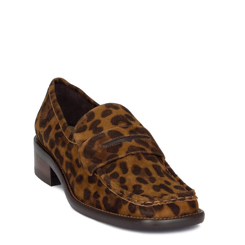 Women's Striking Leopard Print Suede Loafers GR 5232010 LEO