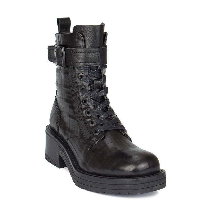 Women's Embossed Smooth Black Leather Boots GS 5328510 BLA