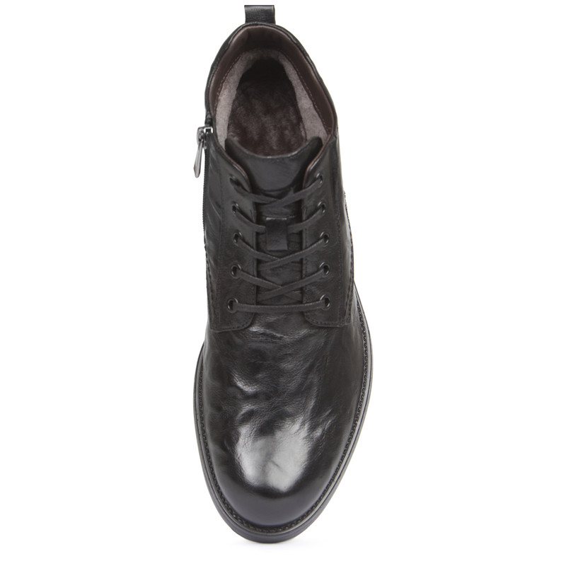 Men's Pressed Leather Winter Boots MP 7521218 BLA