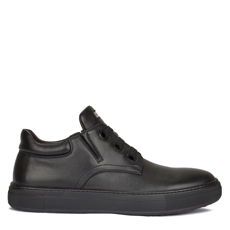 Men's Matte Black Leather Sneakers TK 7325816 BLK