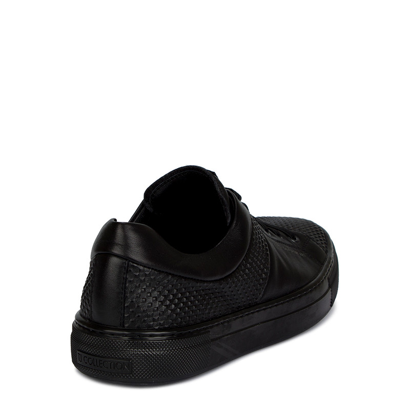 Men's Casual Black Leather Sneakers TL 7225210 BLK