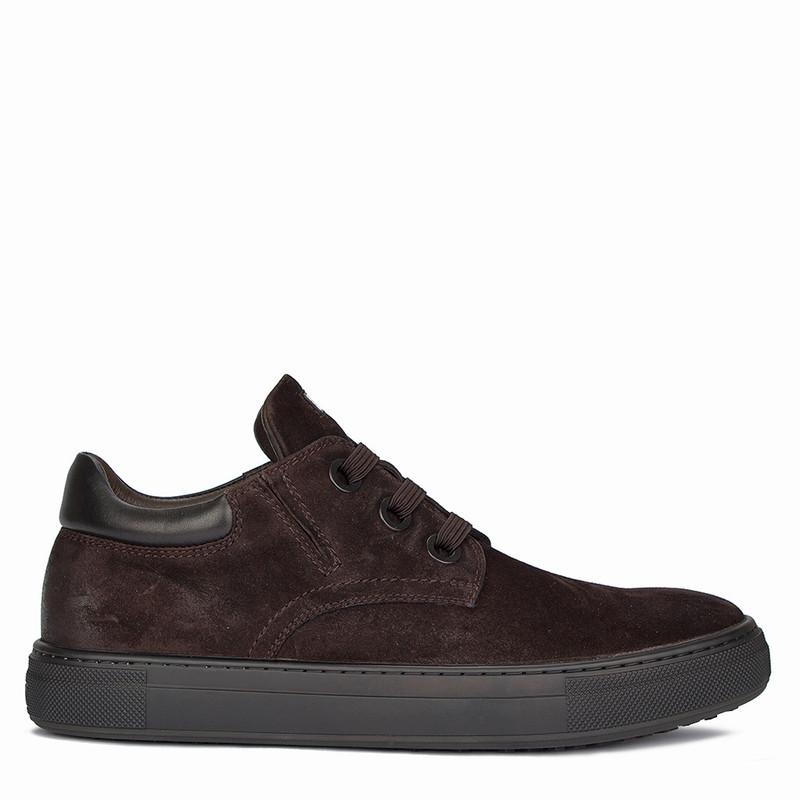 Men's Contemporary Brown Suede Sneakers TL 7325810 BRV