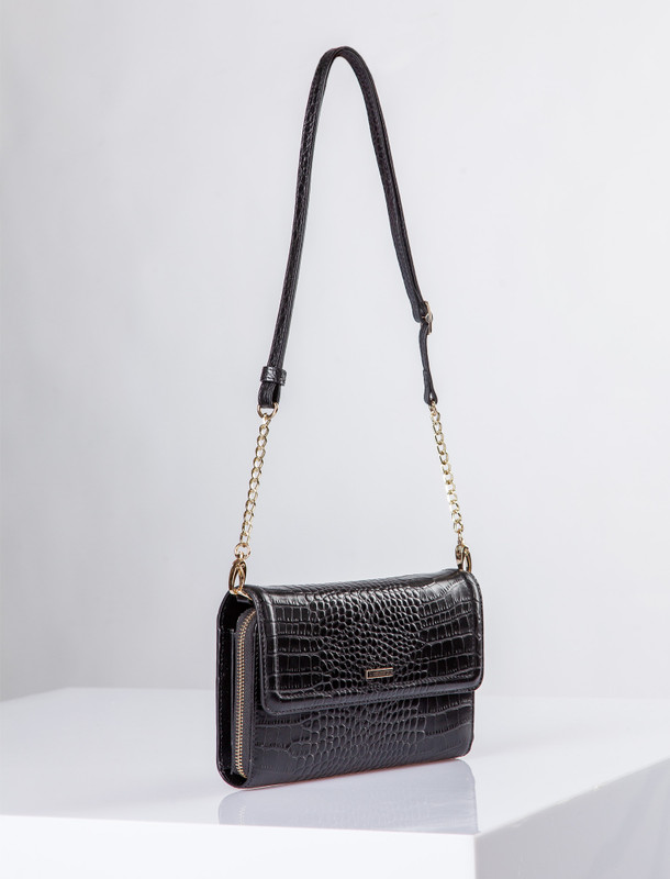 Black Leather Vienna Bag YA 5120910 BLC | TJ COLLECTION | Side Image - 1