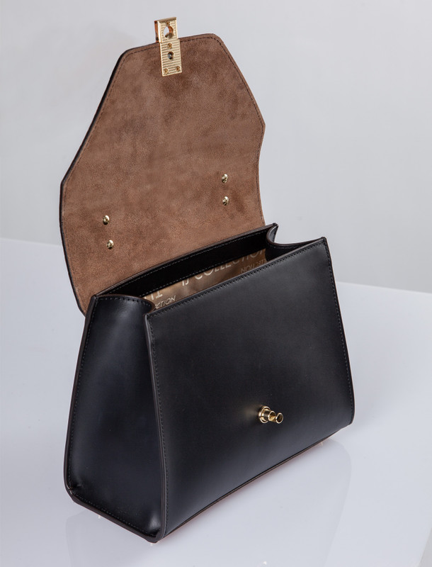 Smooth Black Leather Pisa Satchel Bag YG 5227910 BLZ