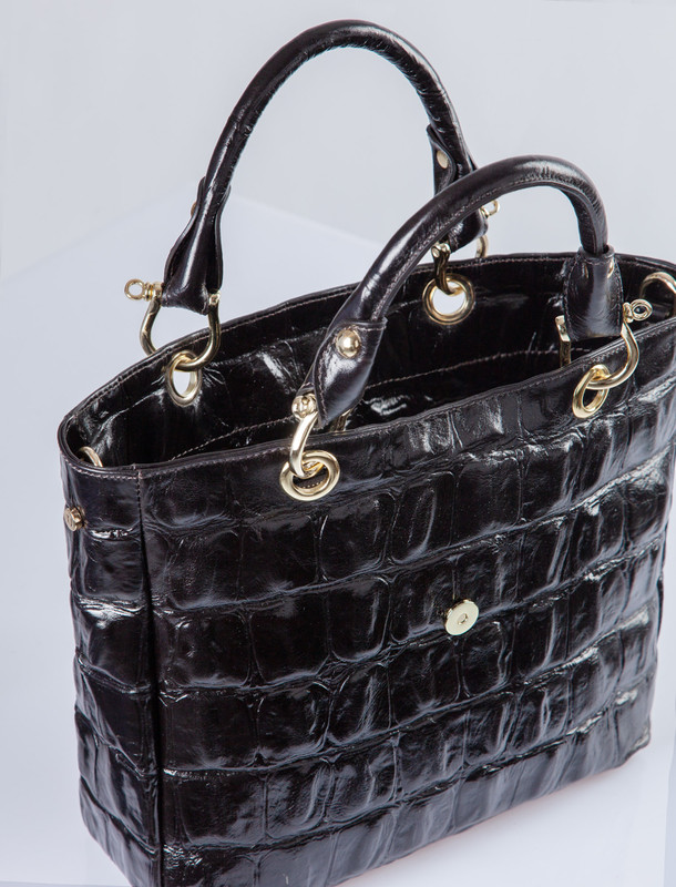 Dark Brown Leather Reptile-Embossed Valencia Bag YG 5335010 DBC