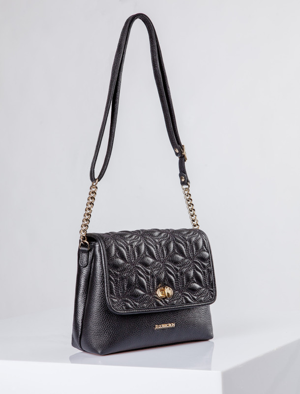 Smooth Black Leather Parma Bag YM 5220710 BLK
