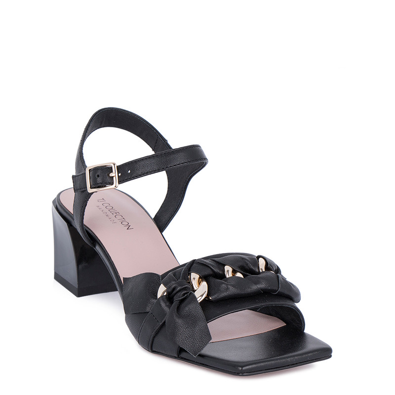 Women's Elegant Black Leather Sandals GD 5154011 BLZ
