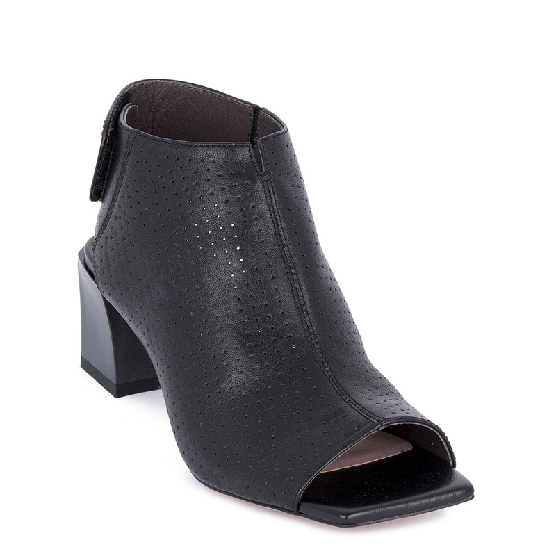 Women's Black Leather Summer Ankle Boots GD 5154911 BLK