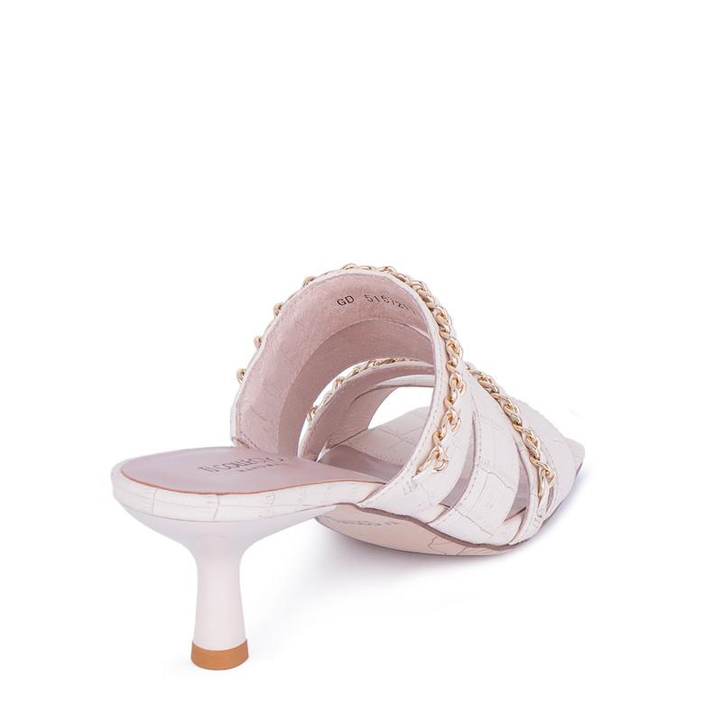 Women's Powder Pink Leather Mules GD 5157211 PNZ