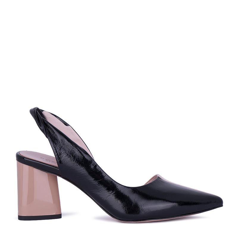 Women's Black Textured Leather Slingbacks GD 5171511 BLB