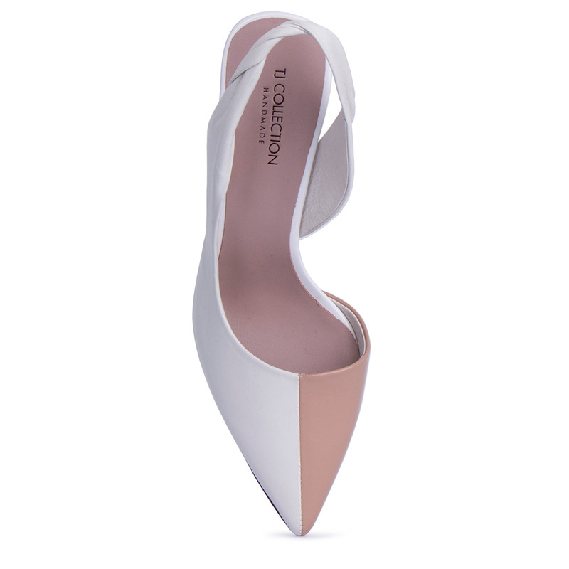 Women's White Textured Leather Slingbacks GD 5171511 WHB