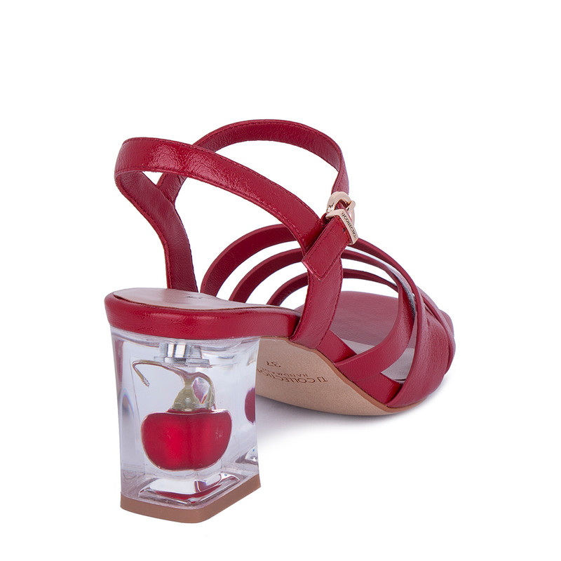 Women's Berry Red Leather Sandals GF 5165011 RDA