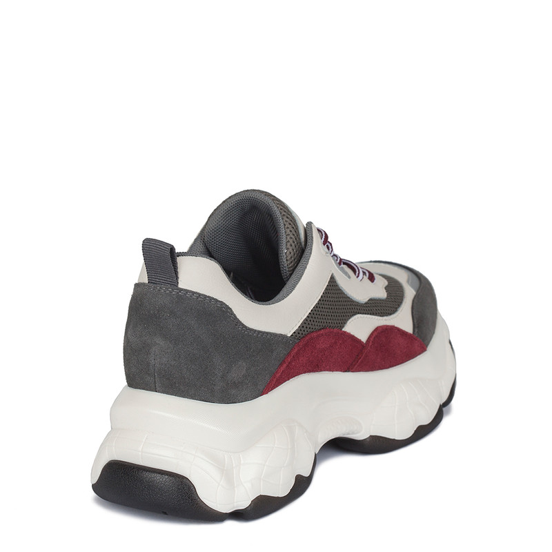 Women's Leather & Suede Chunky Sole Sneakers GF 5217030 GRW