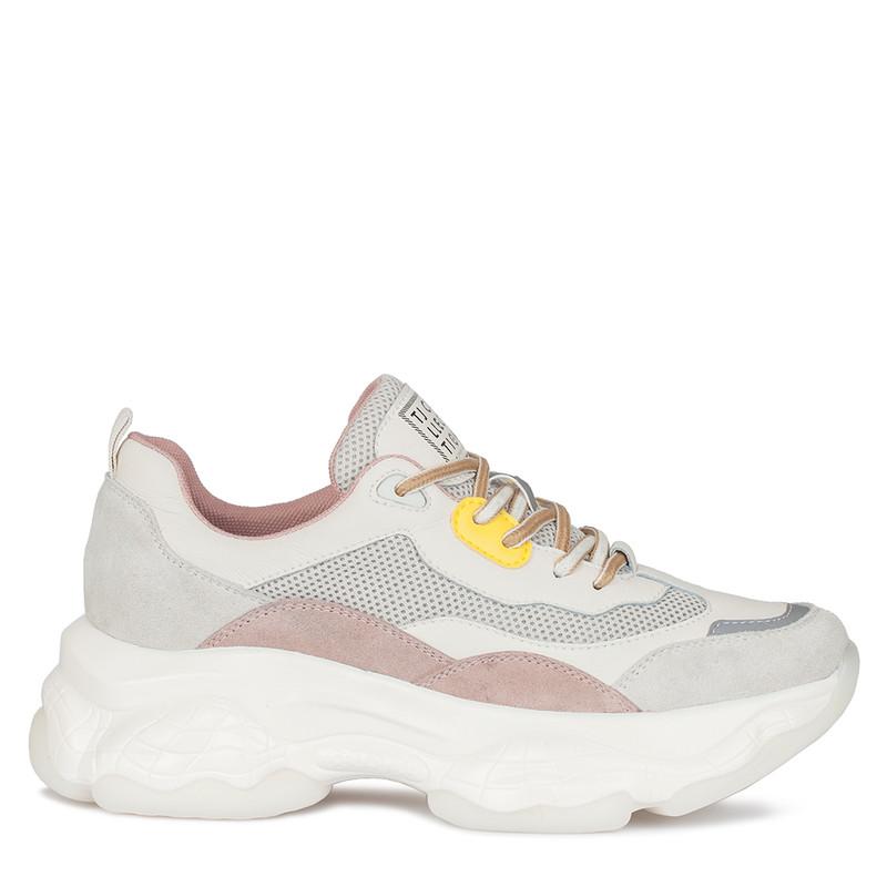 Women's Thick Sole Beige Suede Sneakers GF 5217030 WHM