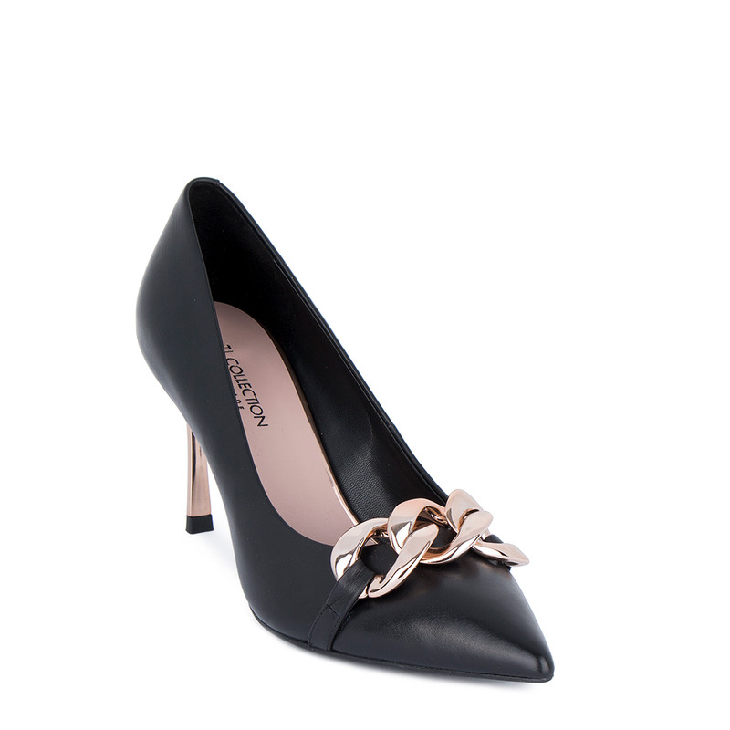 Women's Matte Black Leather Pumps GF 5276011 BLZ
