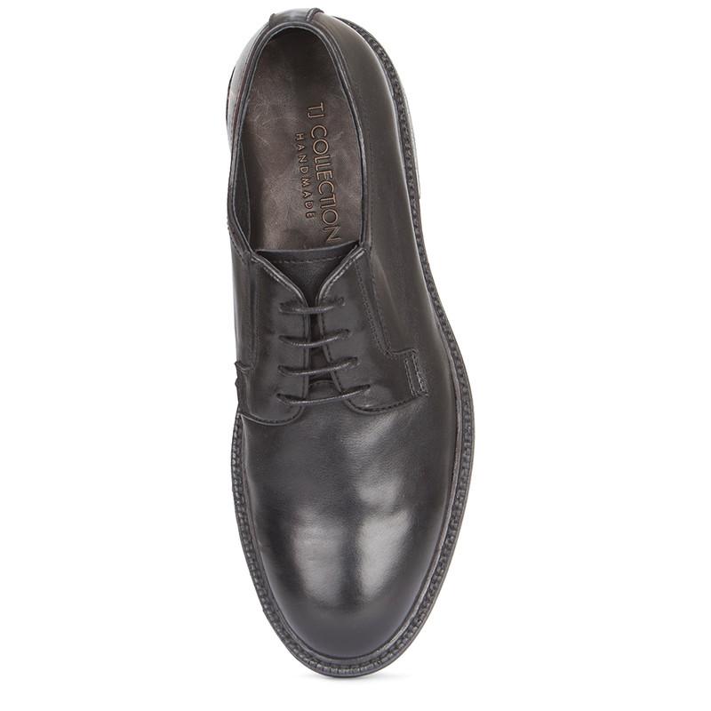 Men's Classy Black Leather Derbies GN 7223019 BLK