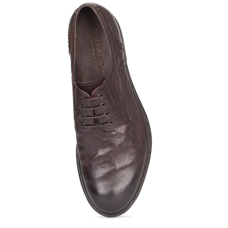 Men's Textured Brown Leather Derbies GN 7224019 BRA