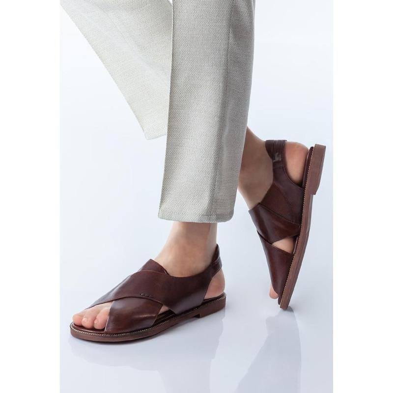 Women's Smooth Chocolate Leather Sandals GP 5106010 BRA
