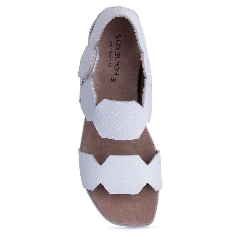 Women's White Footbed Deerskin Sandals GP 5127811 WHA
