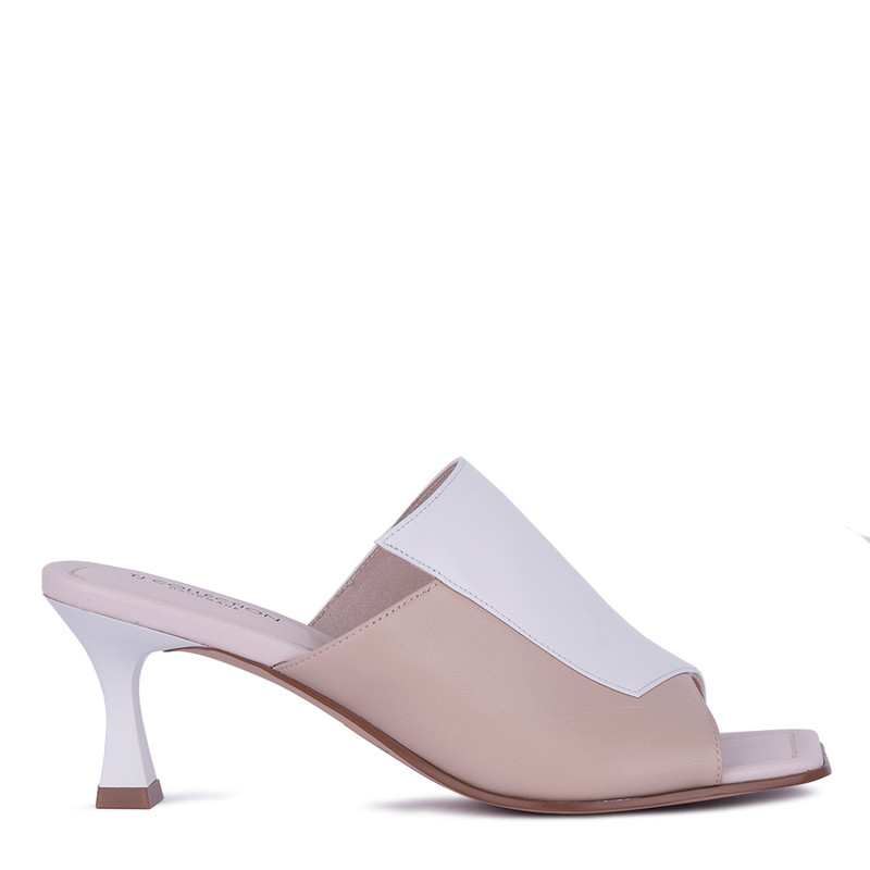 Women's White & Beige Leather Mules GR 5162711 WHB