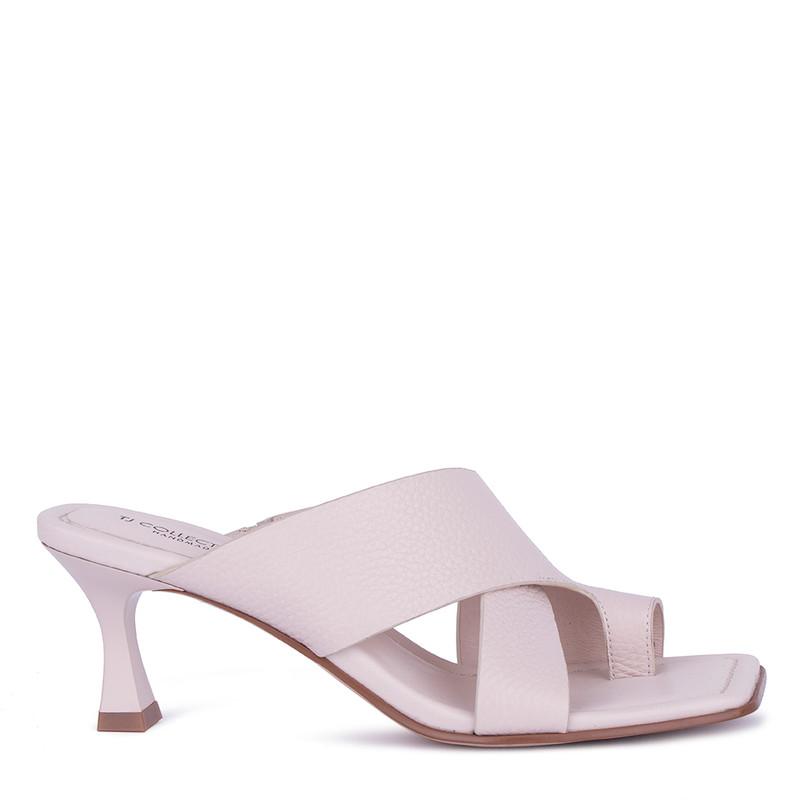 Women's Elegant Beige Leather Mules GR 5162811 BGI