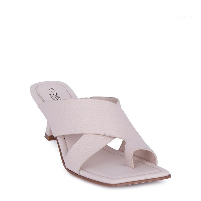 Women's Elegant Beige Leather Sandals GR 5162811 BGI