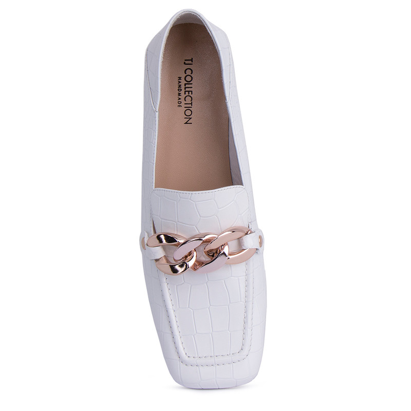 Women's Reptile Embossed White Leather Loafers GR 5228911 WHC