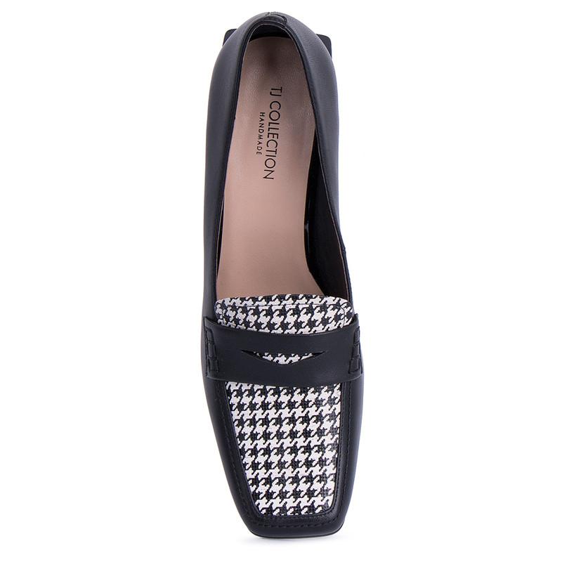 Women's Versatile Black Leather Heels GR 5268211 BLW