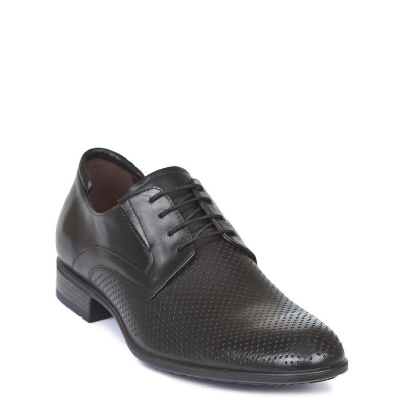Perforated Black Leather Summer Derbies MP 7122119 BLK