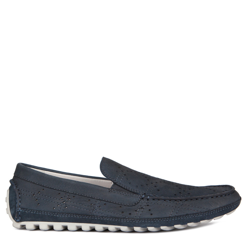 Men's Blue Perforated Leather Moccasins MP 7134918 NVN