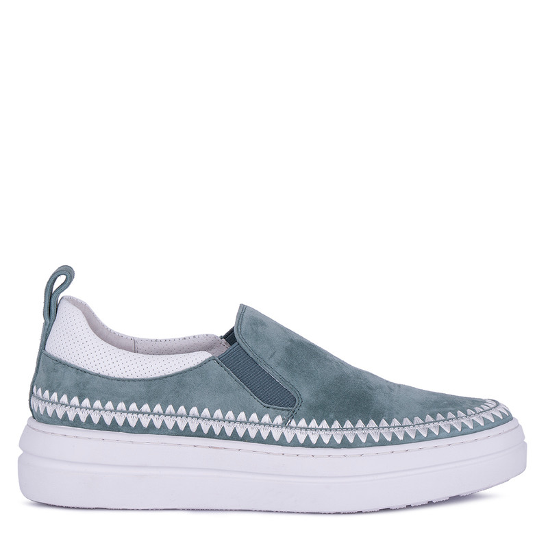 Women's Turquoise Suede & Leather Slip-On Shoes TB 5218011 GNS