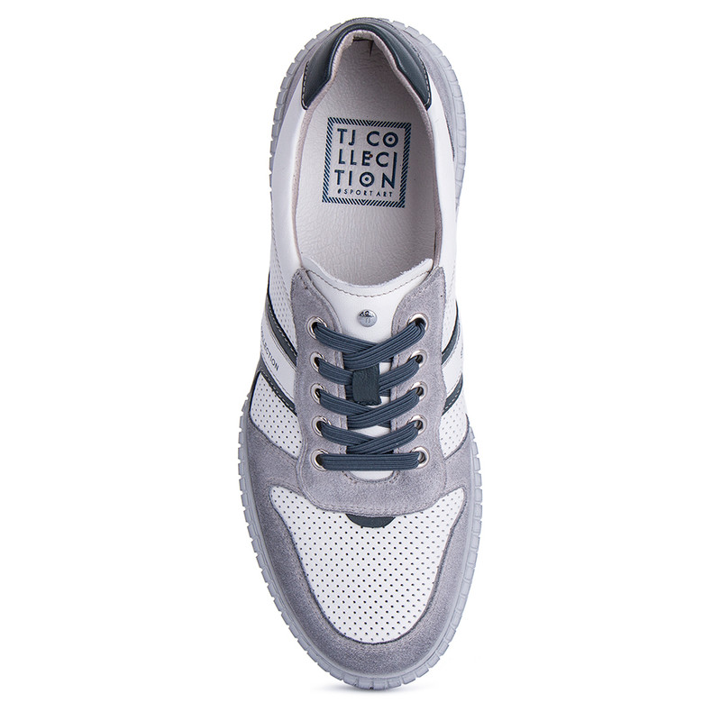 Men's White Leather & Suede Summer Sneakers TL 7124011 WHG