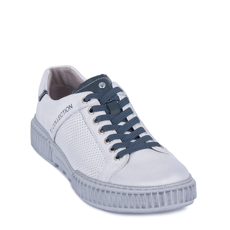 Men's White Leather Summer Sneakers TL 7124211 WHU