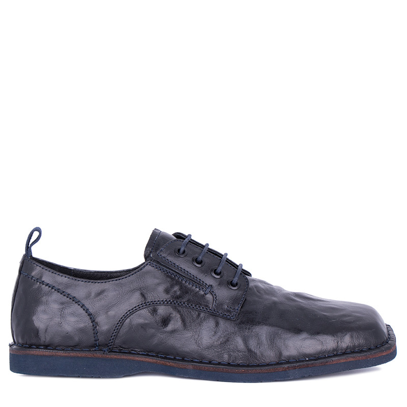 Men's Navy Blue Washed Leather Derbies TN 7202811 BLU