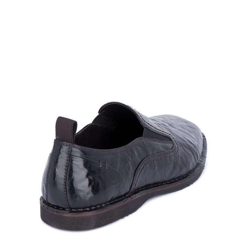 Men's Black Washed Leather Slip-On Shoes TN 7202911 BLB