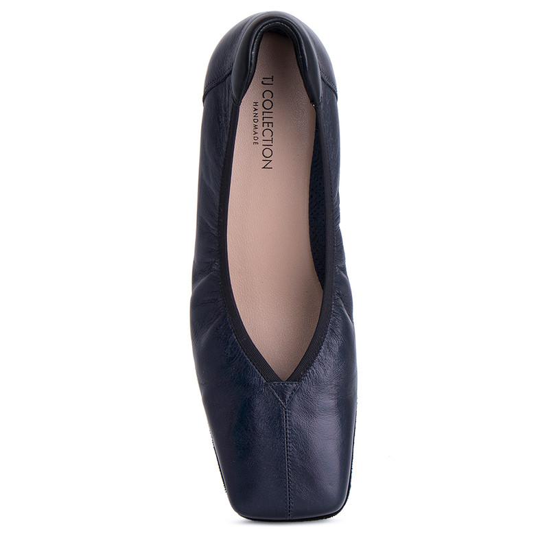 Women's Dark Blue Leather Ballet Shoes VR 5218811 NVZ