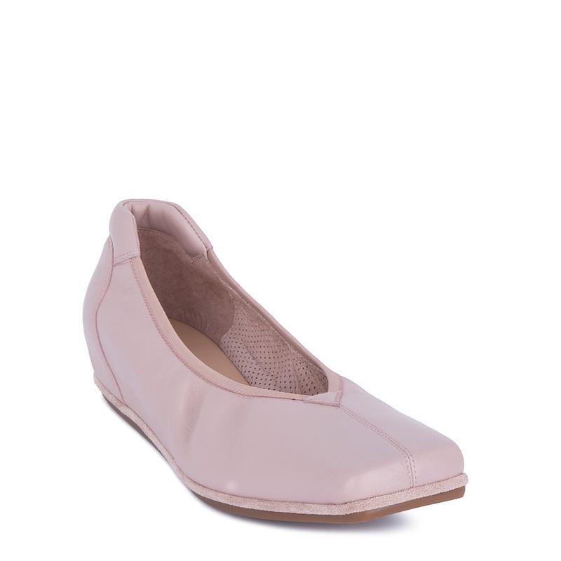 Women's Powder Pink Leather Ballet Shoes VR 5218811 PNI