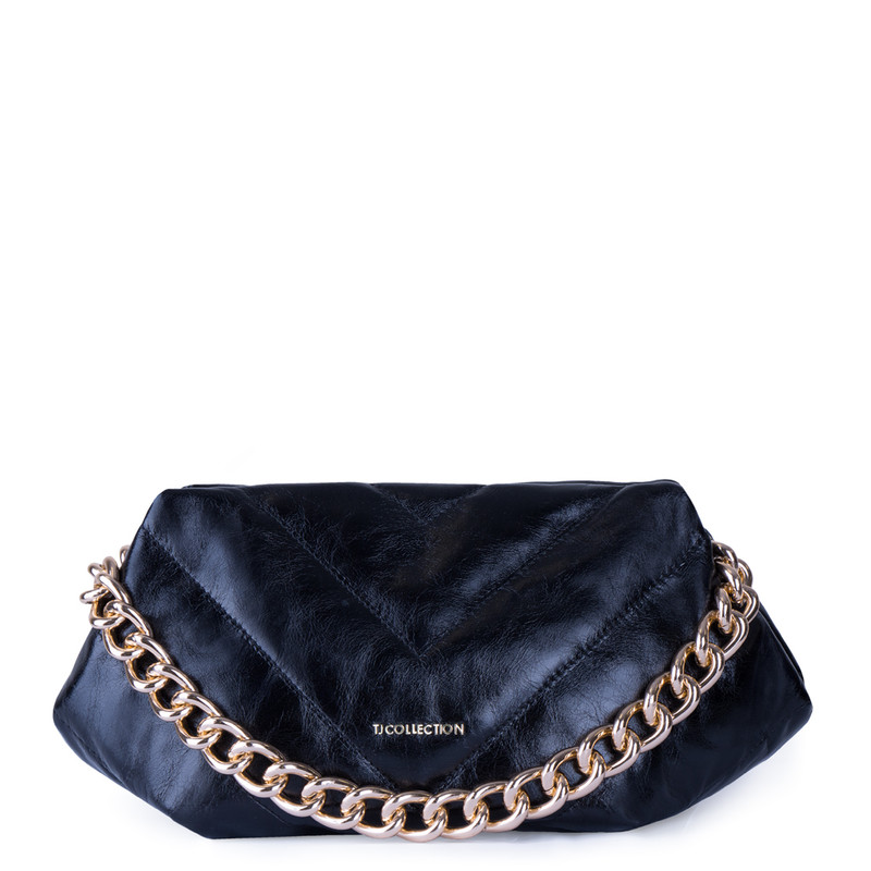 Black Quilted Leather Pouch Bag Alessandria YG 5268811 BLZ