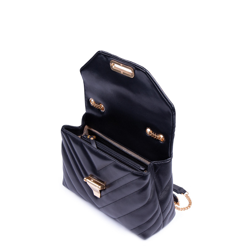 Women's Smooth Black Leather Vittoria Bag YT 5218811 BLI