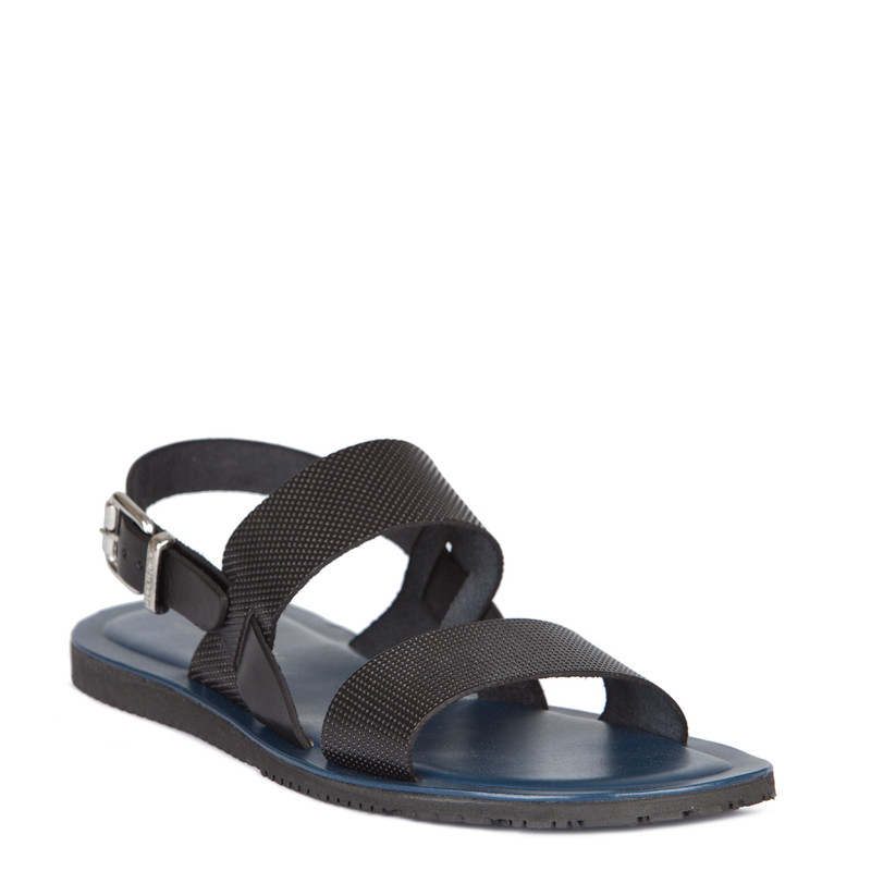 Sandals in Black Leather | TJ COLLECTION | Side Image - 1