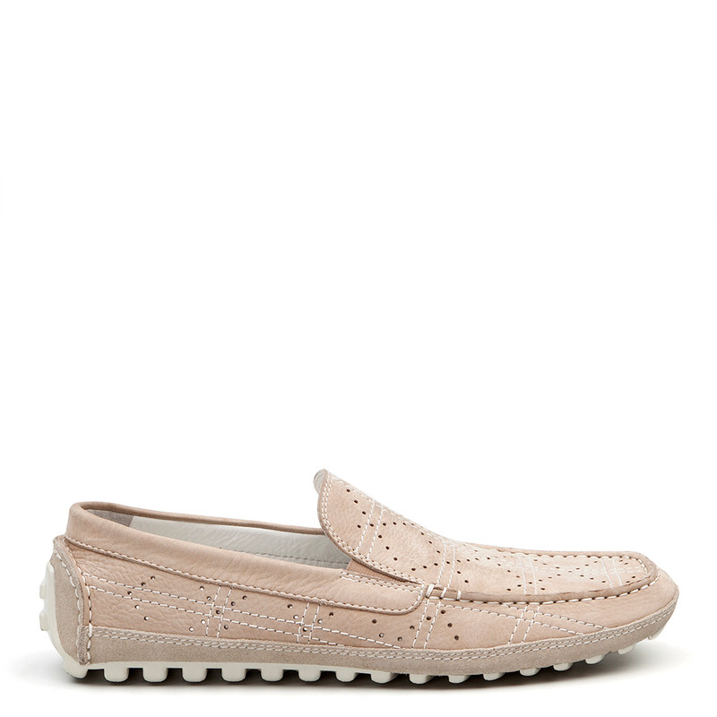 Moccasins in Grey Nubuck with Perforation | TJ COLLECTION | Main Image