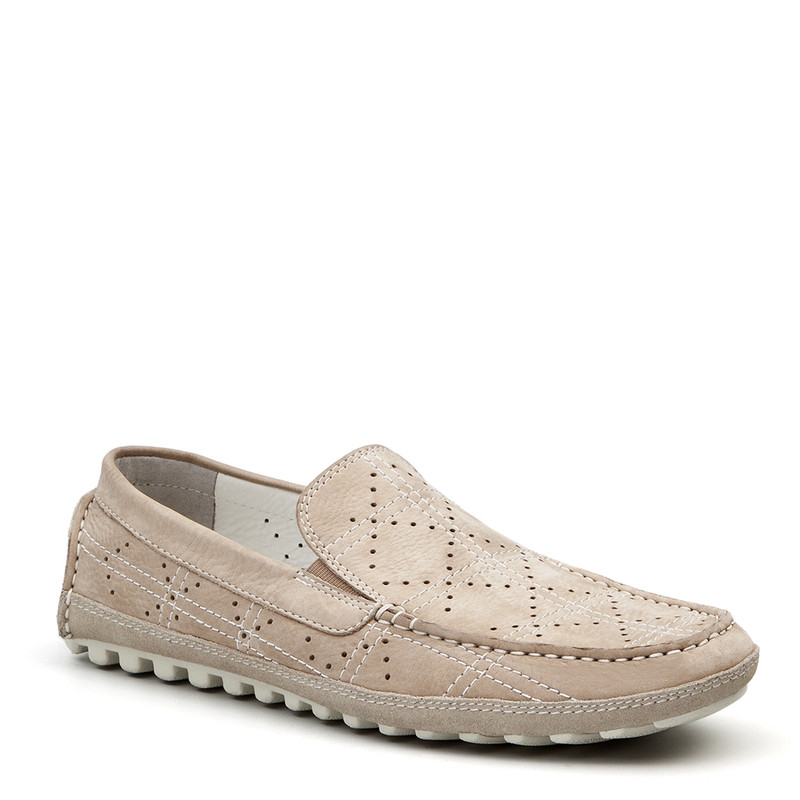 Moccasins in Grey Nubuck with Perforation | TJ COLLECTION | Side Image - 1