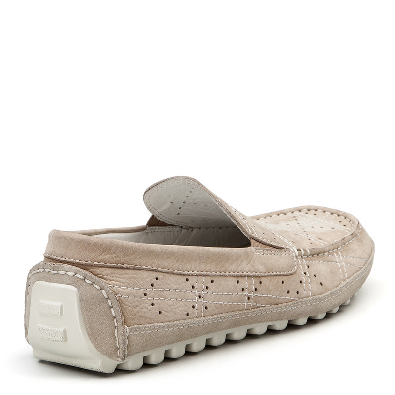 Moccasins in Grey Nubuck with Perforation | TJ COLLECTION | Side Image - 2