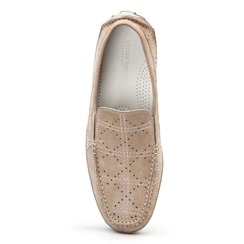 Moccasins in Grey Nubuck with Perforation | TJ COLLECTION | Side Image - 3