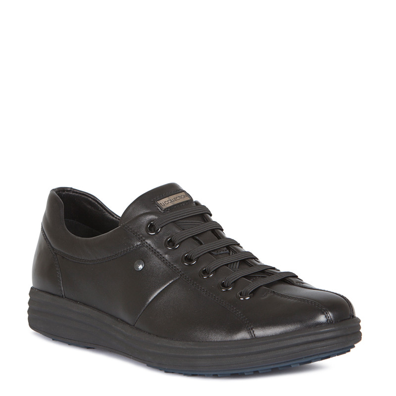 Sneakers in Black Leather with Elastic Laces | TJ COLLECTION | Side Image - 1