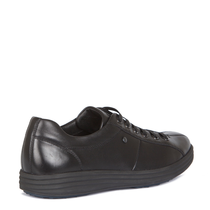 Sneakers in Black Leather with Elastic Laces | TJ COLLECTION | Side Image - 2