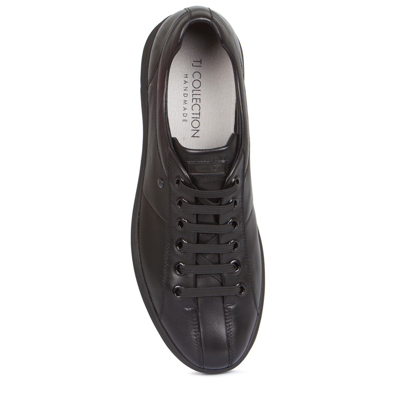 Sneakers in Black Leather with Elastic Laces | TJ COLLECTION | Side Image - 3