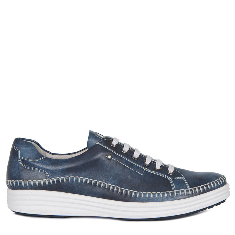 Moccasin Type Sneakers in Navy Leather | TJ COLLECTION | Main Image