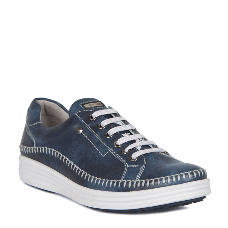 Moccasin Type Sneakers in Navy Leather | TJ COLLECTION | Side Image - 1